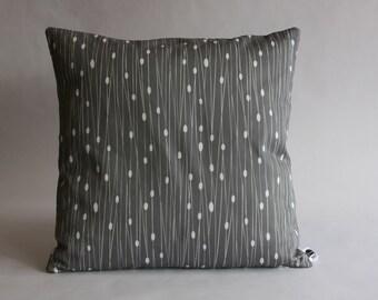 "Entangled Geometric Lines Cushion - 16"" charcoal grey and white"