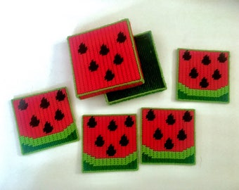 Plastic Canvas Watermelon Coaster Set with Box