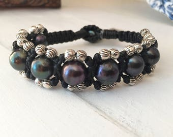 Freshwater Cultured Pearl Bracelet and Zinc Beads