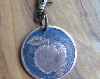 Etched apple copper charm