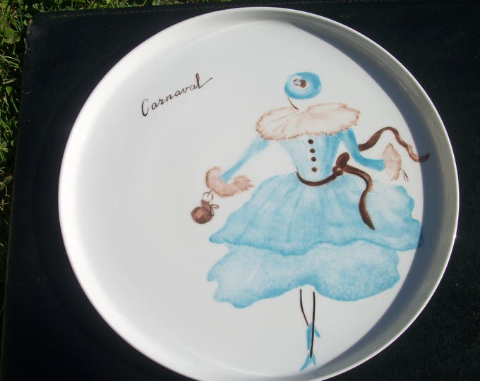 tray or pie themed / Carnival / handpainted porcelain / French craft creation