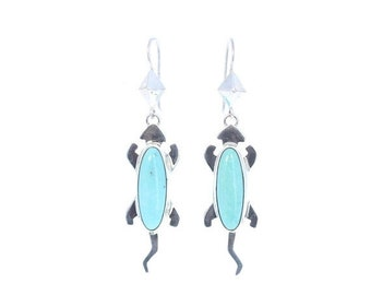 40% Off Earring Sale : ) CAMPITOS TURQUOISE Earrings Robins Egg Blue Lizard Design NewWorldGems