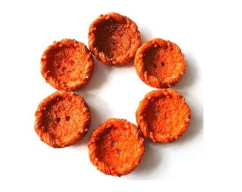 6 Vintage buttons 23mm orange UNIQUE DESIGN