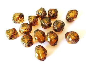 Czech glass beads 10x8mm diamonds antique Brown 4 transparent/Polished Bronze