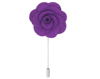 FLOWER LAPEL PIN: Purple Microfiber Rose. Custom Mens Handmade Wedding Boutonniere, Brooches, Lovely Lapels