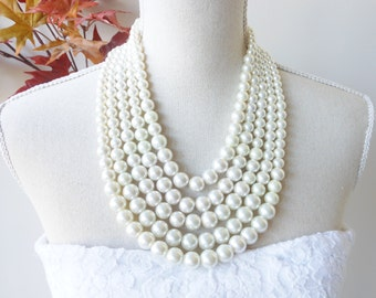 Chunky Pearl Necklace, Pearl Statement Necklace,  Chunky Pearl Long Necklace, Multistrand Pearl Necklace