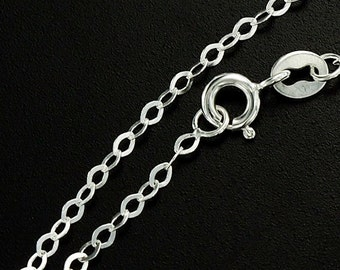 18 inches of 925 Sterling Silver Marquise Chain Necklace 1.5x2.5 mm. Delicate Chain :th2328-18