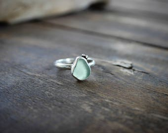 Blue Green Sea Glass Ring Sterling Silver, Handcrafted Sterling Silver Seaglass Ring with Bubble Recycled Silver Accents