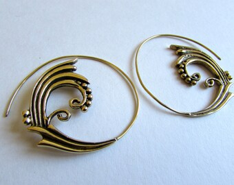 Spiral Brass Earrings handmade, Tribal Earrings, Nickel Free, Indian Jewellery, Gift boxed,Free UK postage BG8