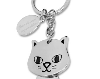 Custom engraved / personalised happy cat keyring with gift pouch - i12