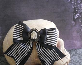 Gothic Lolita hair bow rib cage cameo on a stripe bow