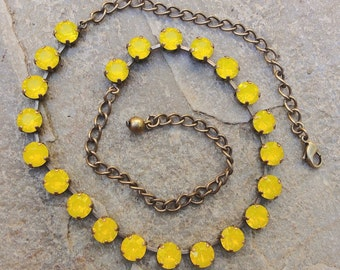 Yellow Opal Swarovski Crystal Necklace, Summer Crystal Tennis Necklace, Bridesmaid Yellow Necklace, Crystal Prom Necklace,October Birthstone
