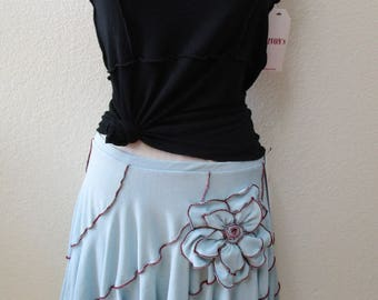 Light blue skirt with rose decoration and ruffled edging detailing plus made in U.S.A  (v45)