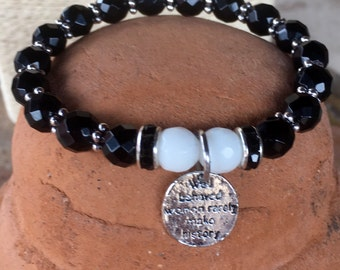 Well behaved women rarely make history: Jade gemstone healing yoga bracelet with center charm