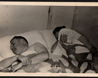 Vintage Snapshot Photo Two Guys Asleep in Bed 1940's, Original Found Photo, Vernacular Photography