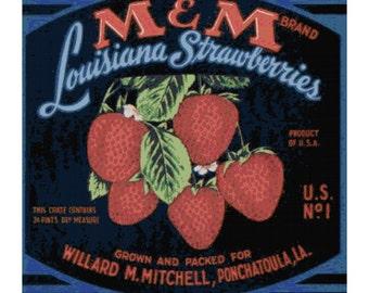 Vintage M and M Louisiana Strawberries Label PDF Cross Stitch Pattern