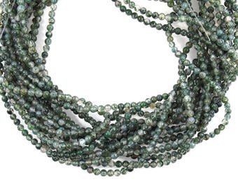 Genuine Moss Green Agate, 4mm Smooth Round Bead in Strand, 95 beads, Drilled Green Gems, Plain Beads, 15 inches strand, Natural Gemstone