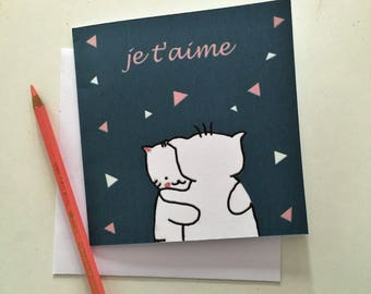 "Folded card ""Choumi et Michou : je t'aime"""