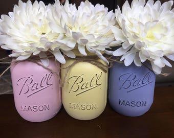 Three pint size Mason jars, pink,yellow ,lavender, Mason jar decor, Mason jar centerpiece,rustic decor,