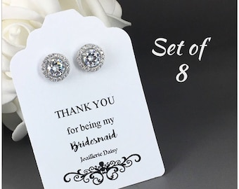Set of 8 Stud Earrings Cubic Zirconia Earrings Bridesmaid Earrings Bridal Earrings Bridesmaid Gift for Her Maid of Honor Gift for Moms