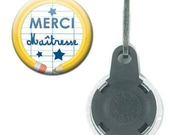 Zipper Badge 25 mm - thank you teacher notebook pencil school gift