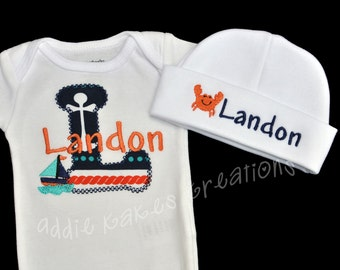Nautical Coming Home Outfit - Nautical Baby Shower Gift - Nautical Baby Outfit - Take Home - Baby Boy Outfit - Sailboat -Crab - Personalized