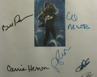 Aliens Signed Film Movie Screenplay Script X14 Autograph Sigourney Weaver Michael Biehn Bill Paxton James Cameron Paul Reiser Carrie Henn