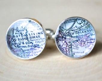 custom Vintage map cufflinks - wedding day keepsake gift for him - travel the world