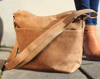 Brown Leather Bag / Leather handbag / Leather Messenger / Leather Bag / Light Brown Bag / Brown Handbag / Brown Messenger / Shoulder Ba