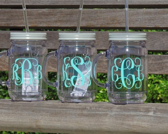 monogrammed mason jar, personalized mason mug, bridesmaid mason jars, bachelorette party cups, acrylic mason jars