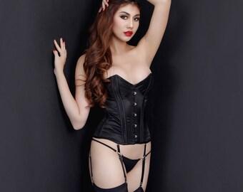 """Erotic Lingerie,Classic black """"Kumo"""" satin corset,  Overbust corsets, Sexy lingerie, Corset - Suspender, Bondage outfit,By Ange Déchu"""