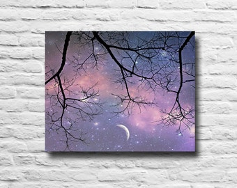 Starry Night Sky. Night photography. Crescent moon. Purple. Tree branches. Surreal sky. dreamy. girly. canvas wall art. chic. home decor