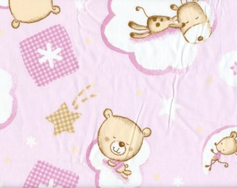 Fabric pink white bear donkey mice Bed time Sleeping Cotton Fabric Kids Fabric Scandinavian Design Scandinavian Textile