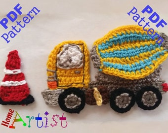 Cement mixer truck Crochet Applique Pattern