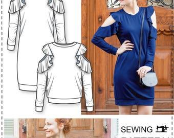 Open Shoulder Dress pattern - Off Shoulder Dress Pattern - Sweatshirt Sewing Pattern - Womens Sewing Patterns - Sewing Patterns - Tutorial