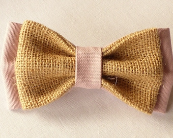 Bow tie double burlap and fabric old Rose