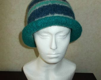 Felted Blue Hat - thick and warm