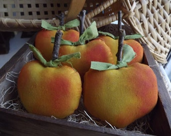 Peach Bowl Fillers, Peaches, Rustic Peach, Farmhouse Home Decor, Primitive Fruit, Gift For Her, Fabric Fruit, Kitchen Table Decor