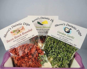 Dip Mixes by SherriLynns- Dip Mix -3 Packages-Choose from 8 Amazing Varieties-Stocking Stuffers- Seasoning Mixes-Gourmet Food Mixes