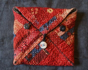 pouch for treasures in antique Indian cottons from Rajasthan and Gujarat/kantha/Banjara/Rabari