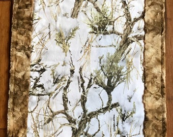 Camo Minky Blanket - Baby Blanket - Snow Camouflage and Taupe - Child Throw - Adult Throw - Made to Order Minky Blanket