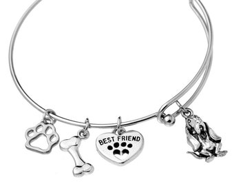 Bloodhound Charm Bracelet, Stainless Steel Bloodhound Bangle, Bloodhound Jewelry, Bloodhound Gift