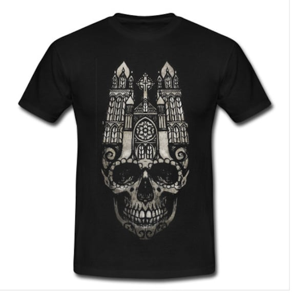 Gothic Cathedral Skull Tee shirt