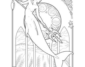 Merfolk coloring page.