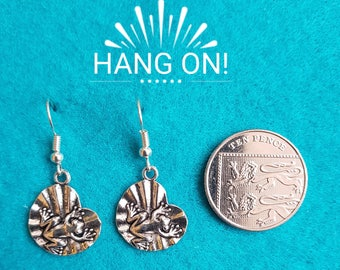 Handmade Tibetan Silver Frog on a Lilly Pad Earrings
