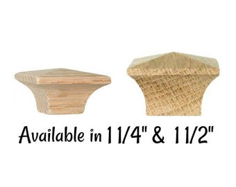 Side Grain Mission Style Square Oak Knob with Narrow Base - Arts & Crafts - Stickley - Mission Oak- Two Sizes