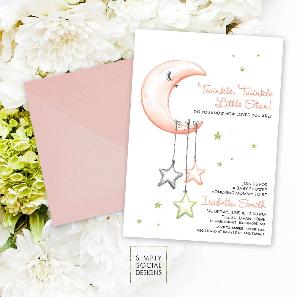 Little Star Baby Shower Invitation - It\'s a Girl Watercolor Moon and ...