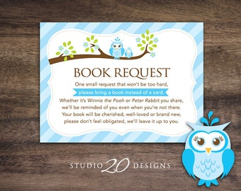Instant Download Blue Owl Book Request for Boy, Blue Brown Owl Book in Lieu of Card, Owl Theme Baby Shower Book Instead of Card 23F