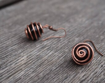 Earrings / copper cage / copper & Pearl black