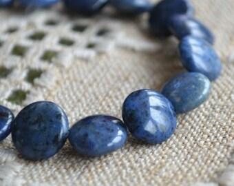 15pcs 12mm Sunset Dumortierite Natural Puffed Flat Round Coin Gemstone Beads